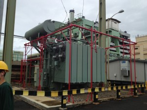 Transformer that takes the electricity from the generator and steps up to 13 kV