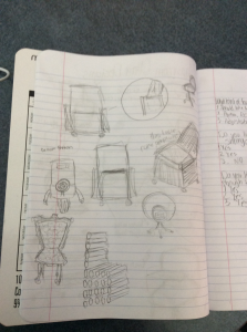 Some of Samantha's quick sketches of chair ideas