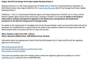 Information about the October 6 meeting about the water situation at Red Hill/Halawa